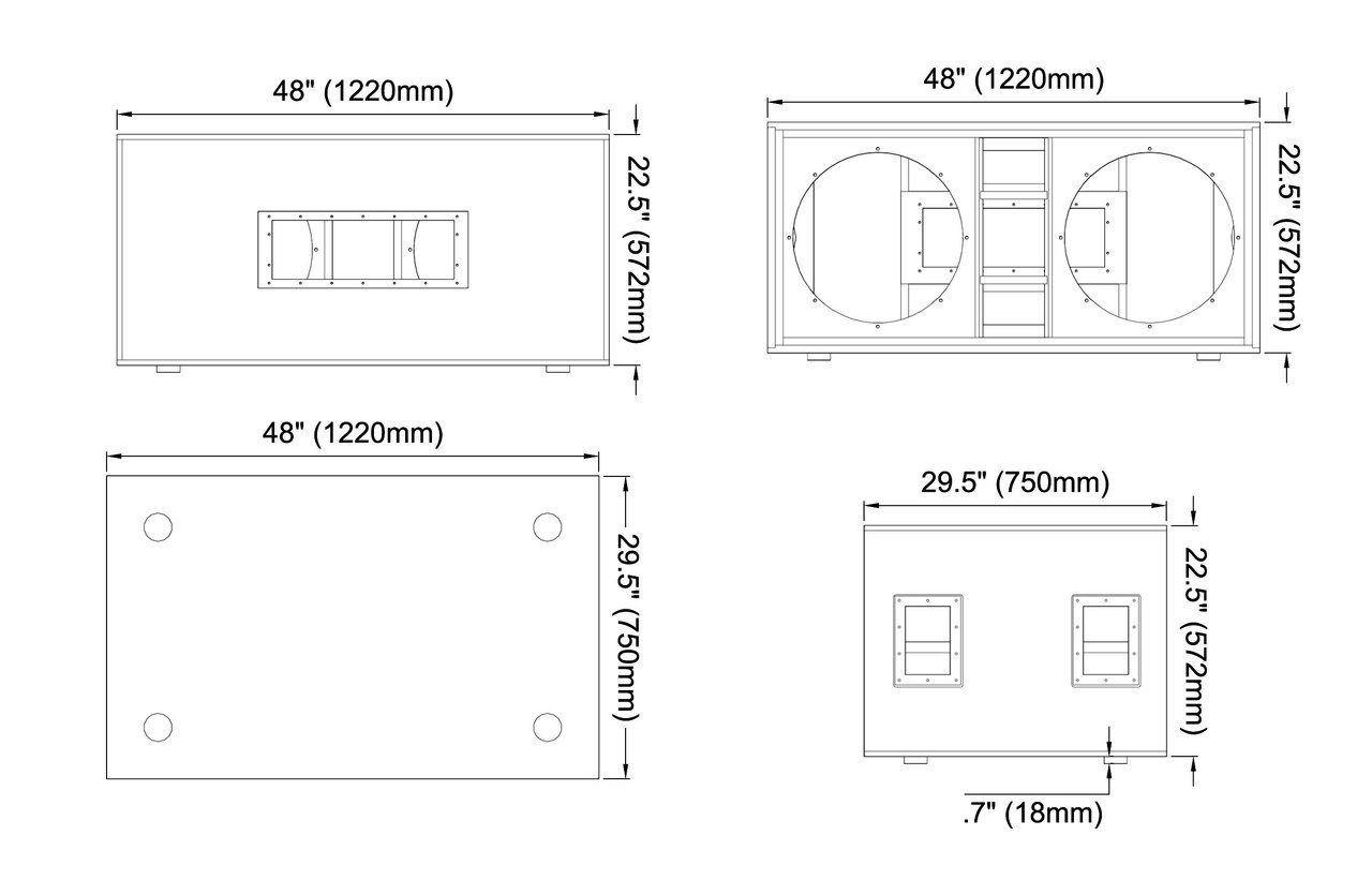 Avorio Lucido Berlioz Creations Subwoofer Alto di casa su Cappa 60 60/x 34/x 35/cm Pannelli di Particelle