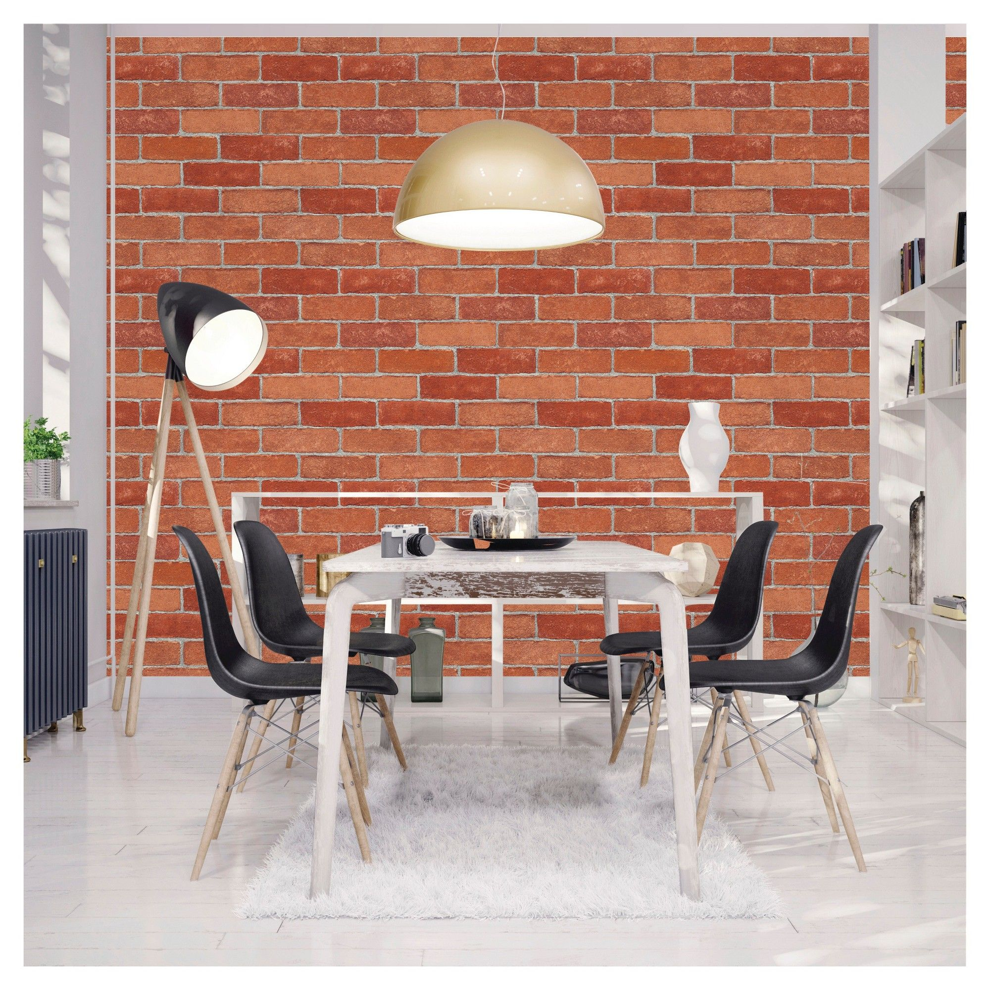 Devine Color Textured Red Brick Peel & Stick Wallpaper