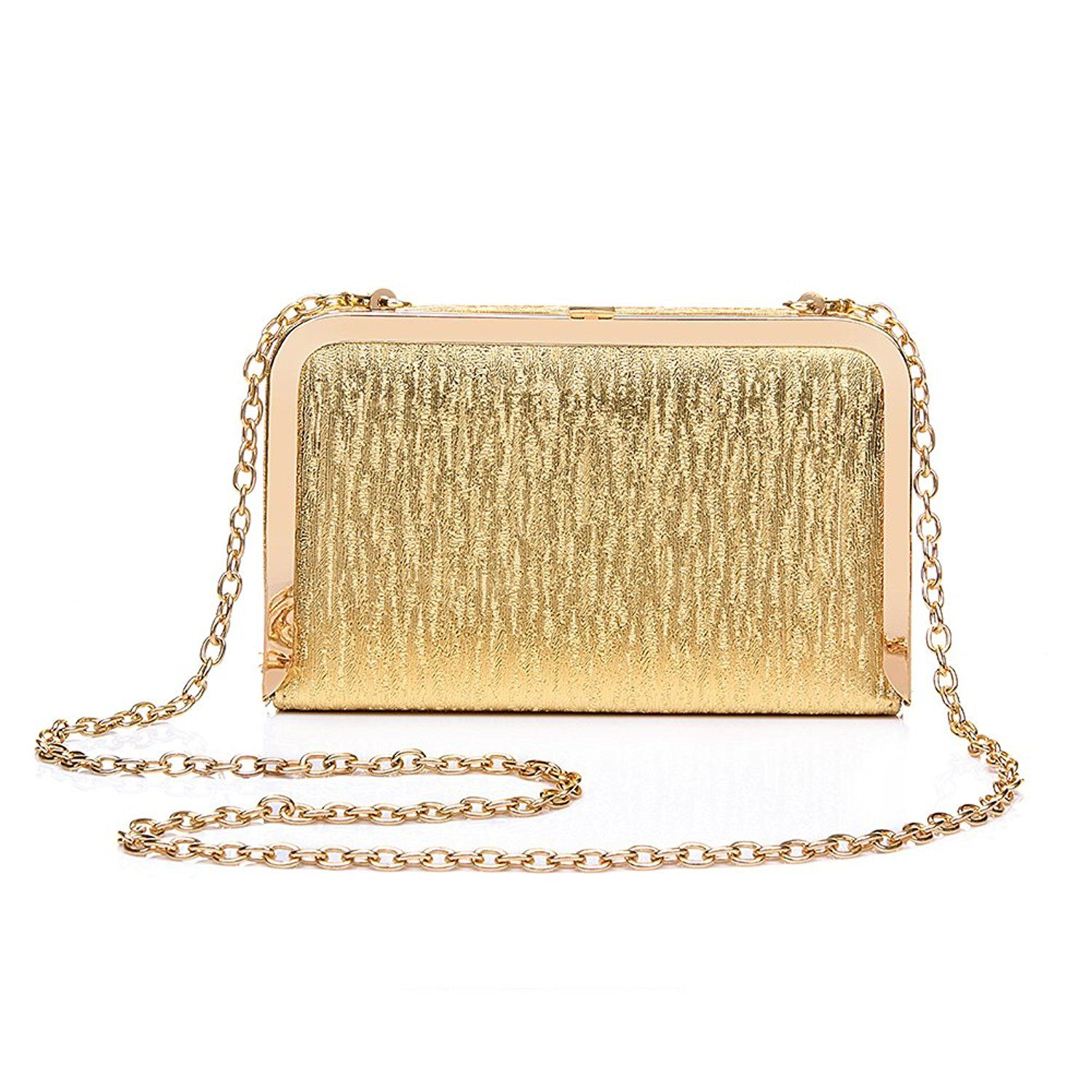 7959801f77 Realer Gold Envelope Clutch Purse Wallet Evening Bag for Women Teen Girls  with Chain Strap *** You can get more details here