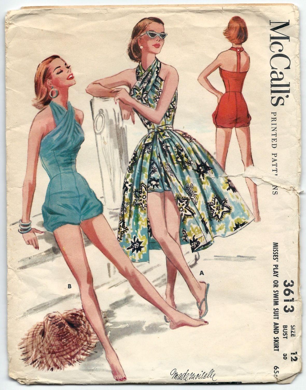 1950s Vintage Sewing Pattern McCalls 3613 Bubble Romper Bathing Swim ...