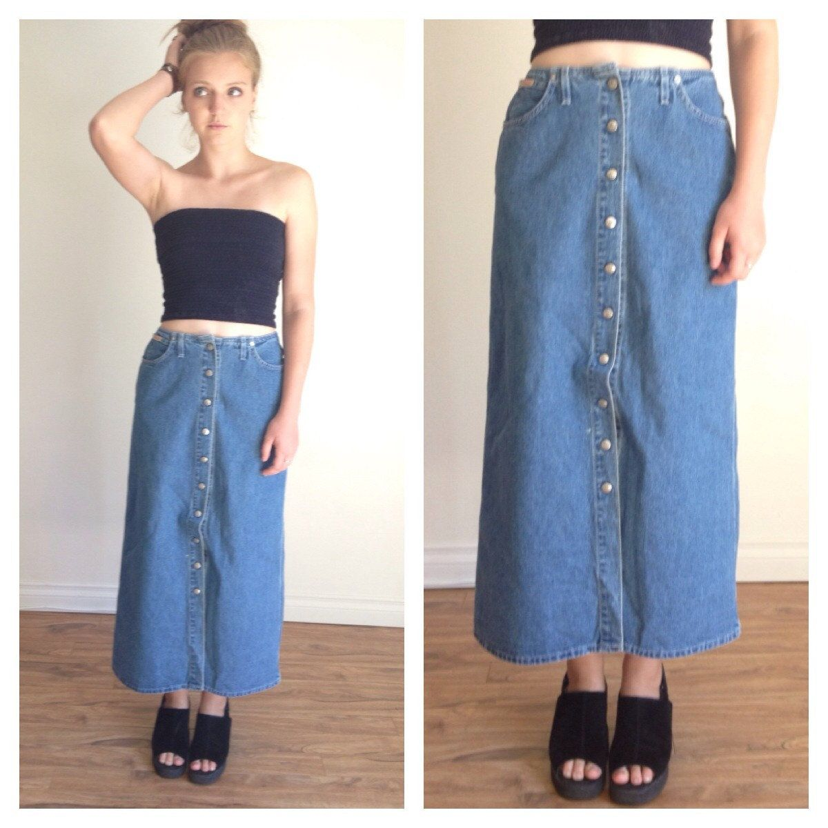 90s Jean Maxi Skirt, Button Down Skirt, Skirt With pockets, Denim ...