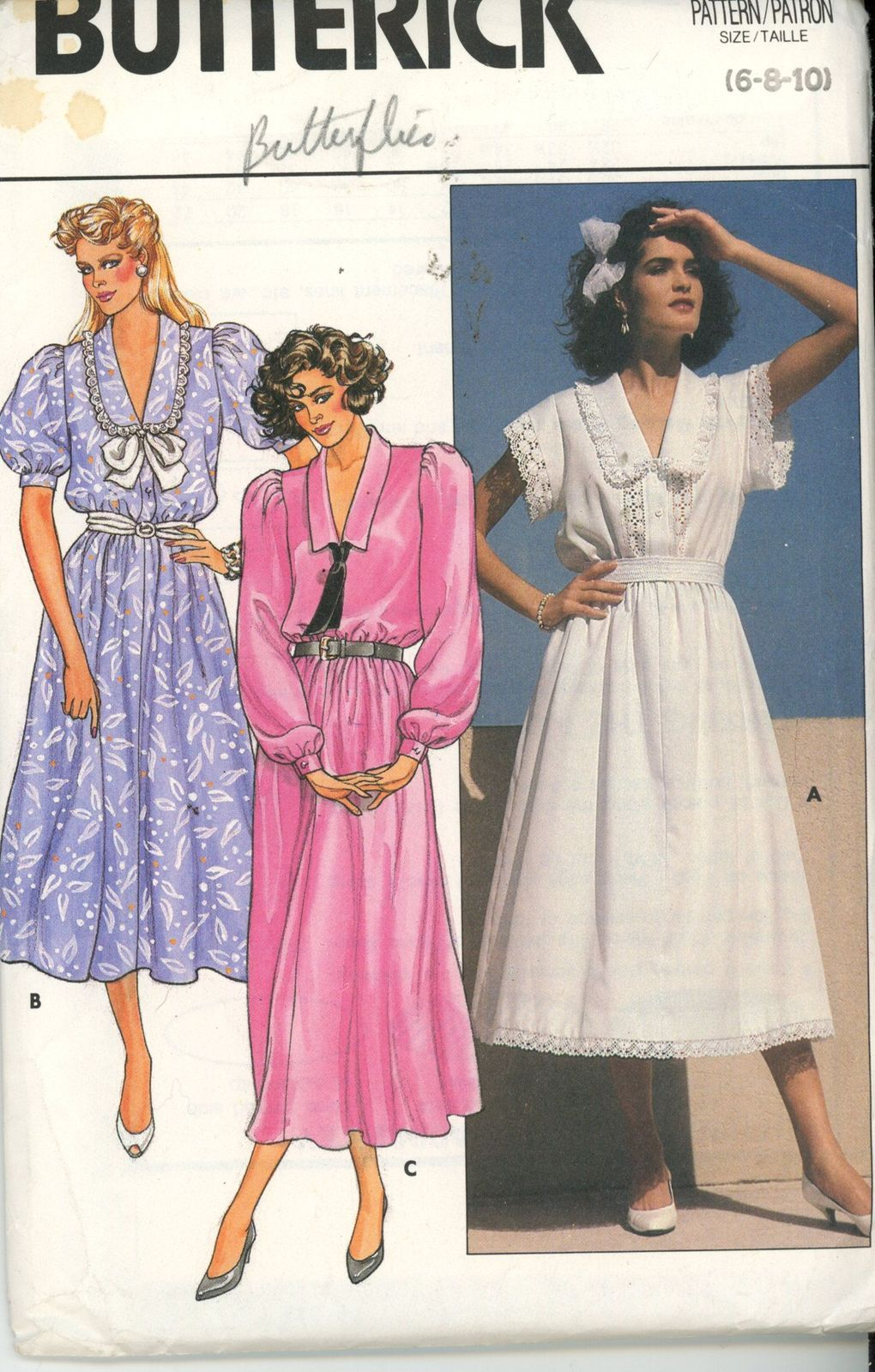 Vintage 1985 Butterick 3231 Garden Party Dresses with Lace Size 6..8 ...