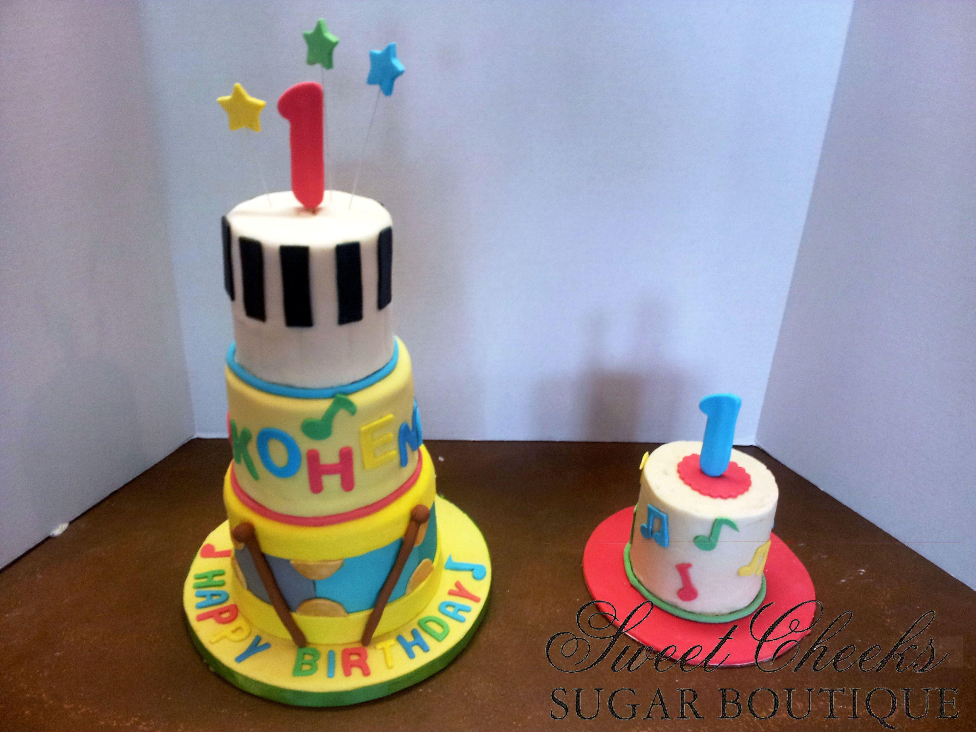 Sensational A Music Themed First Birthday Cake And Matching Smash Cake For Birthday Cards Printable Benkemecafe Filternl