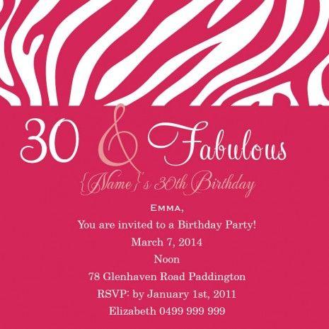Funky Birthday 30 Square w Magnet in Lipstick Invitation
