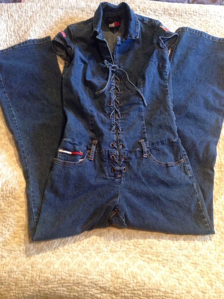 Vintage Tommy Jeans Flag Hilfiger Jumpsuit Romper Overall Onsie Dark Denim Med #TommyHilfiger #Jumpsuit