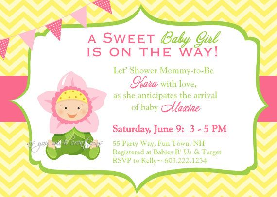 Sunflower Baby Shower Invitation Chevron By AsYouWishCreations4u, $14.00