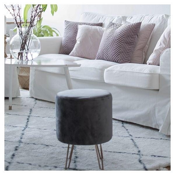 Photo of Paloma Round Footstool, Velvet Upholstered, Onyx Black