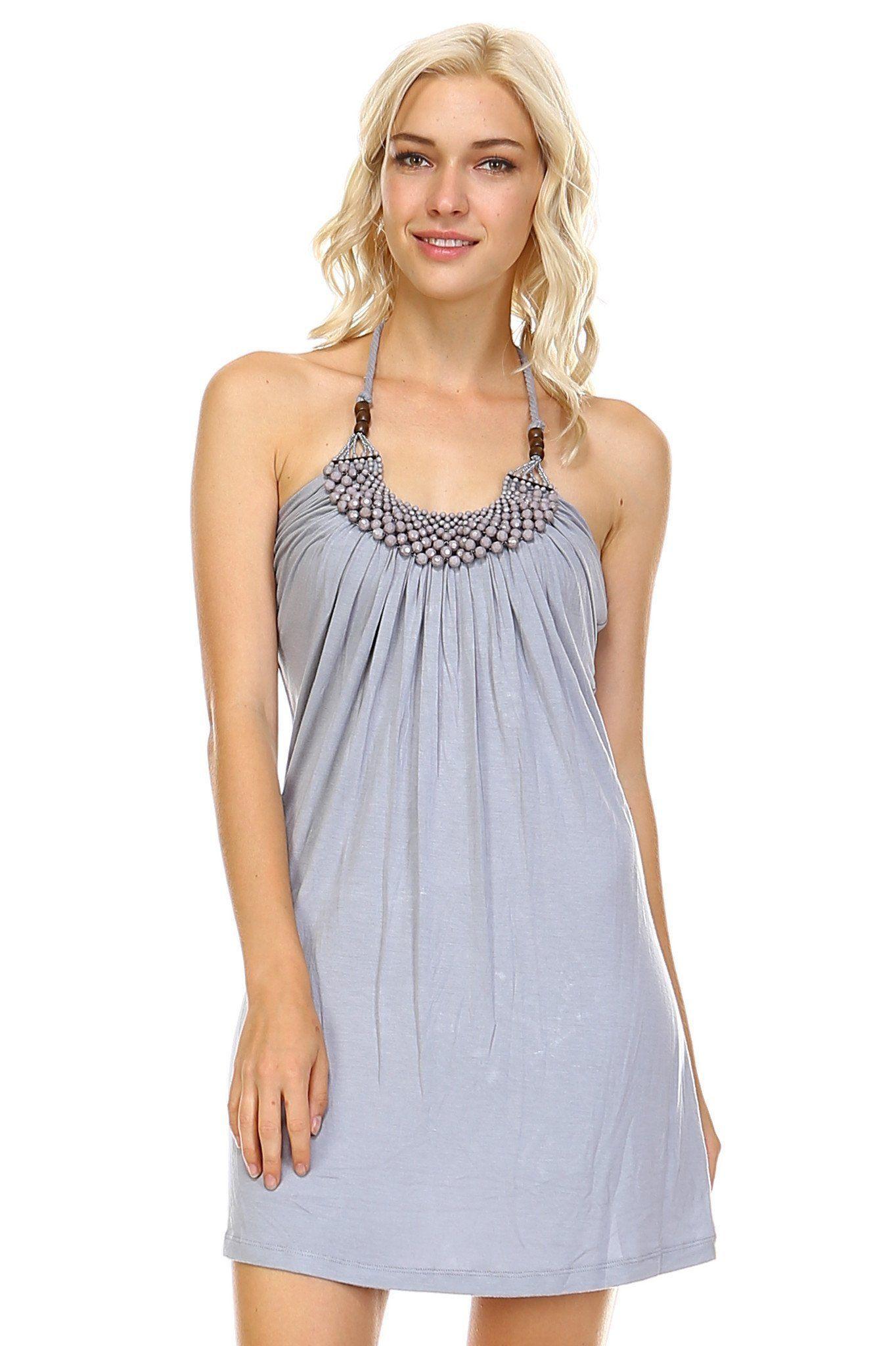 Women S Beaded Neckline Halter Dress In Gray Or Light Brown