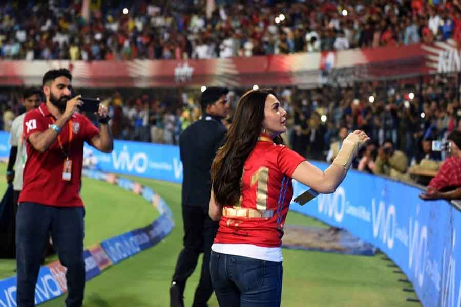 Preity Zinta co-owner of Kings XI Punjab during match two