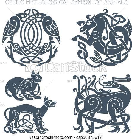 Celtique Ancien Symbole Animals Vecteur Illustrati Mythologique Csp50875617 Symboles Nordiques Symboles Anciens Celtique