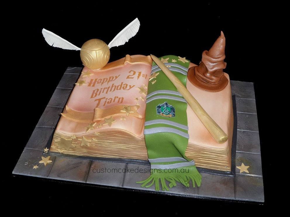 Slytherin Harry Potter Book Cake By Customcakedesigns Deviantart Com On Atdeviantart