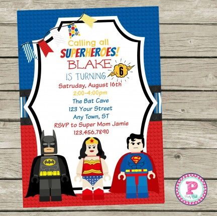 lego superhero birthday party invitation with matching thank you and printables wonder woman superman - Superhero Birthday Party Invitations