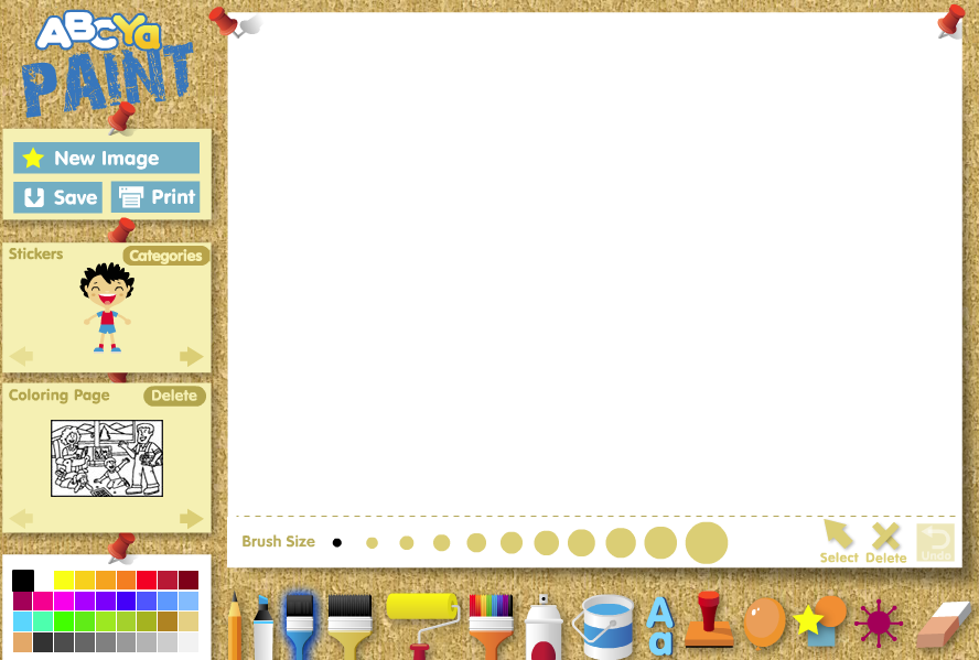 ABCya Paint is an online paint, color and drawing activity