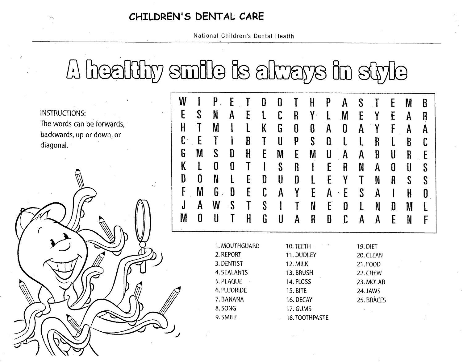Printable Fun Activity Sheets Dental Puzzle For Kids