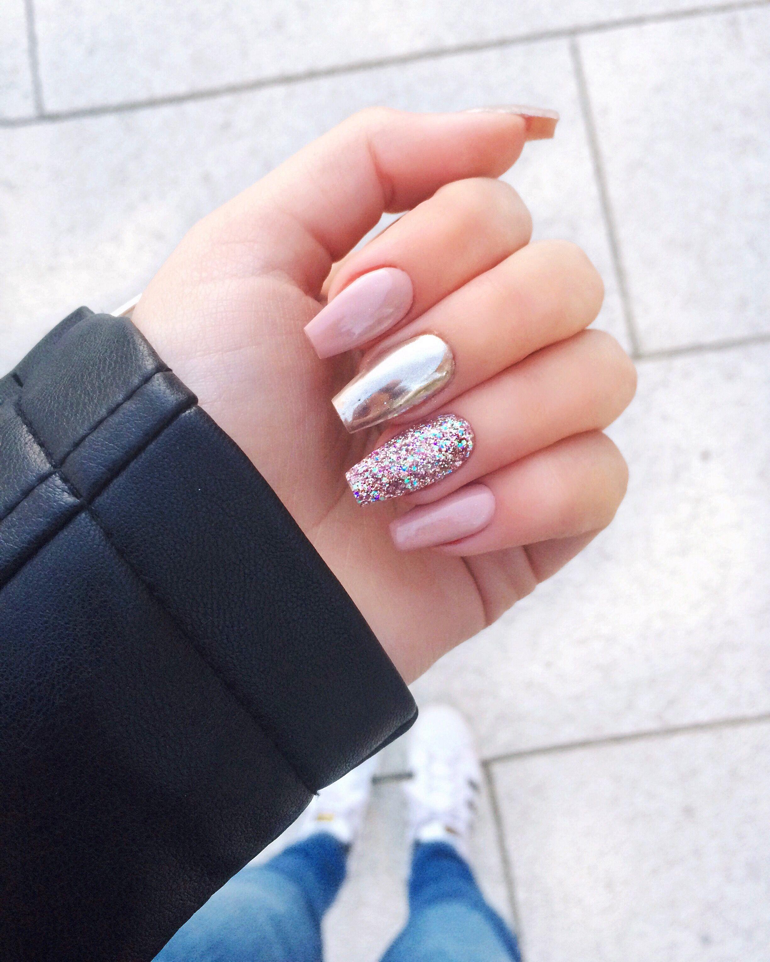 Pink chrome glitter nails claws pinterest glitter nails pink chrome glitter nails prinsesfo Images