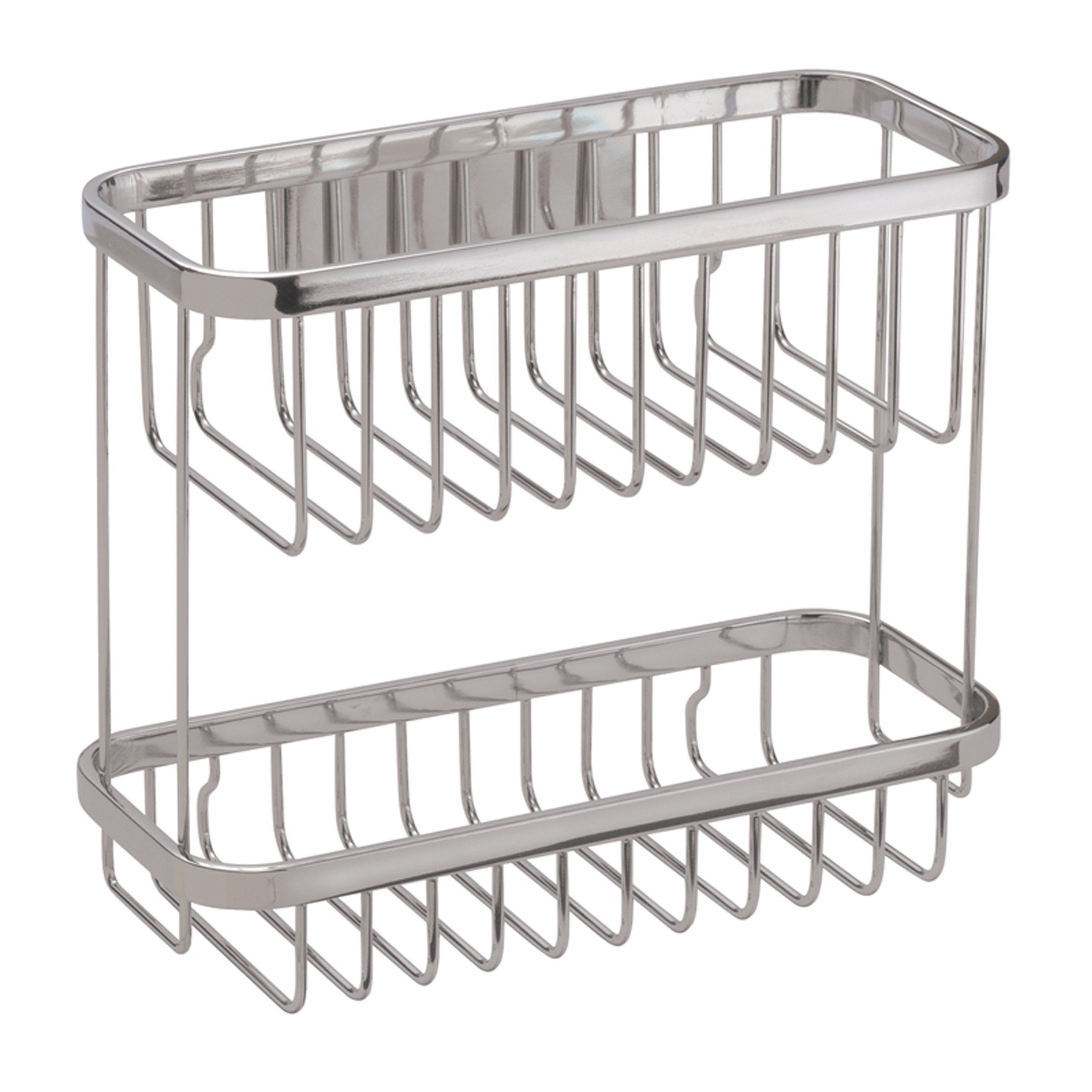 Heavy Duty Iron Kitchen Bathroom Shower Shelf Storage Basket Caddy Rack