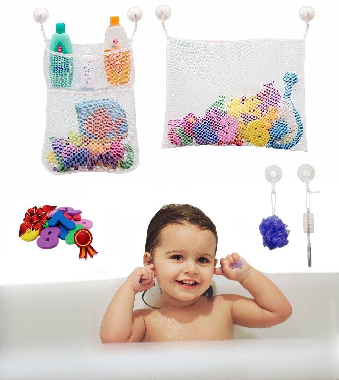 SODAH Club Bath Toy Organizer Set + Educational Numbers & Shapes ...