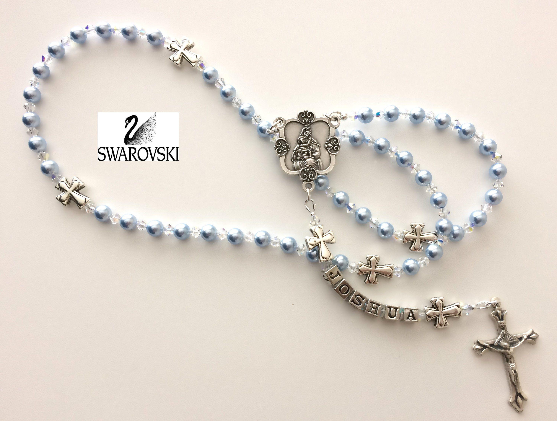 Swarovski light blue rosary personalized rosary baby boy baptism