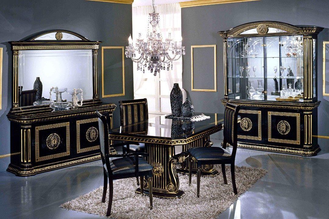 Rossella Italian Classic Black Corner China Cabinet