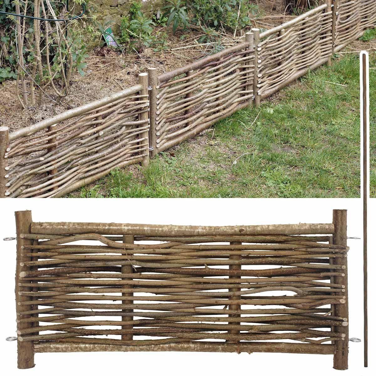 Faire Une Palissade Avec Des Branches bordure bois noisetier avec tige   bordure jardin, bordure bois