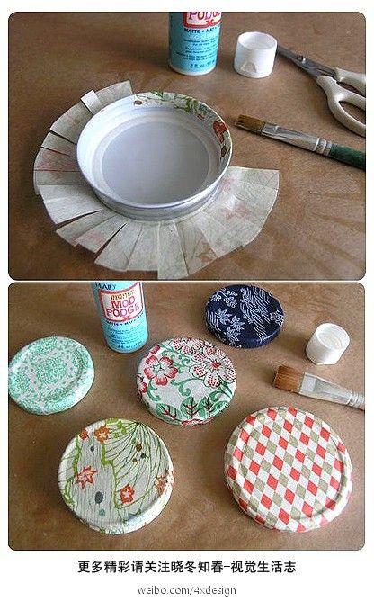 Beautiful ways to decorate mason jar lids!!!