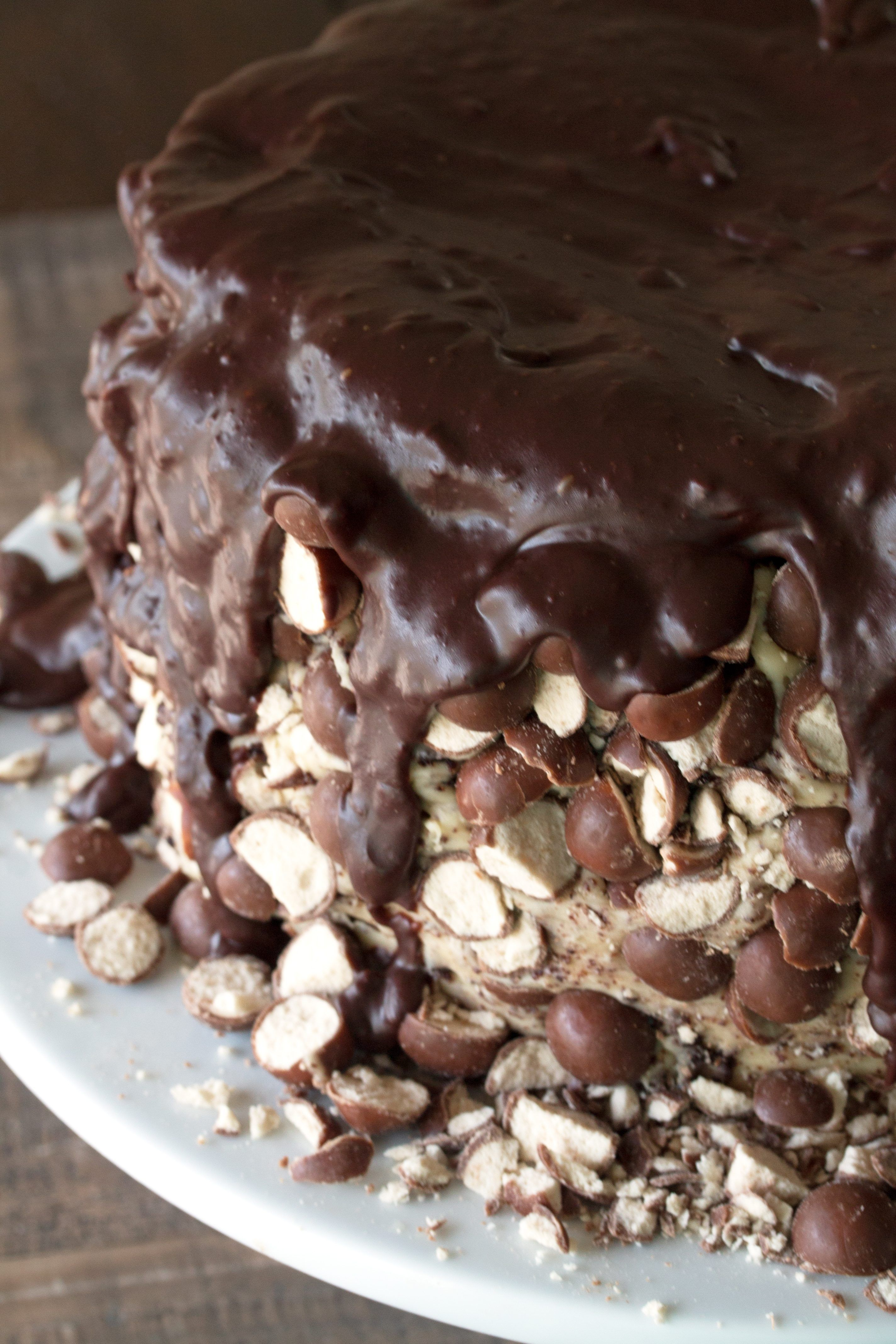 A moist and delicious triple chocolate malt cake with 3 layers of