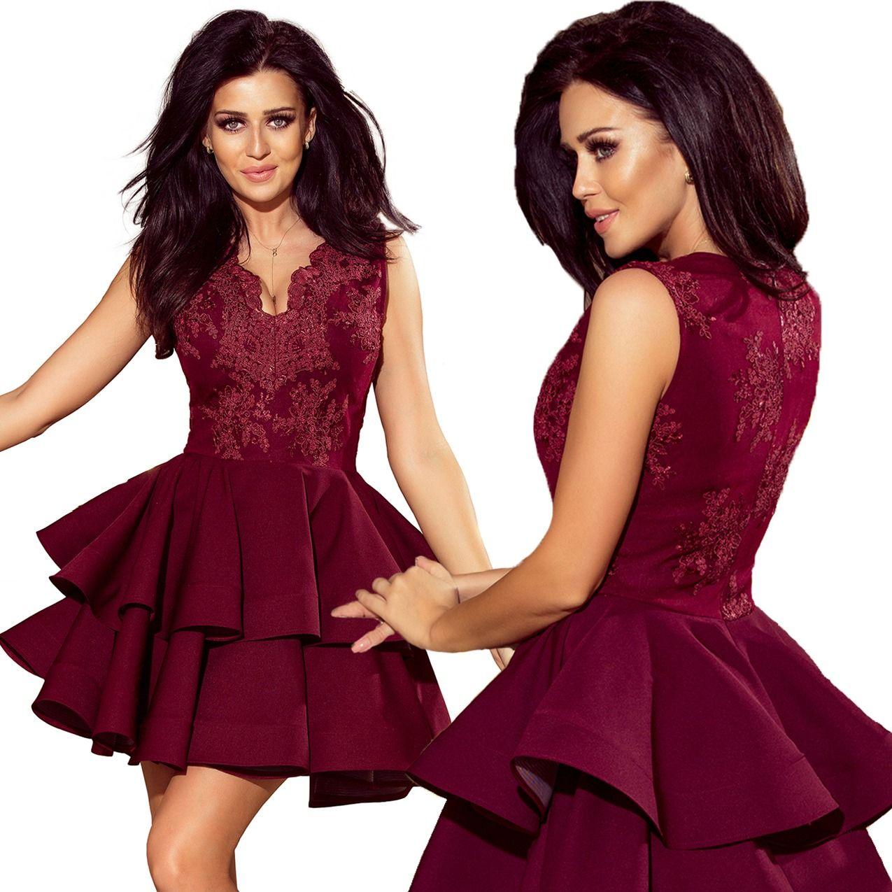 Ekskluzywna Sukienka Koronkowy Dekolt Bordowa M Fashion Formal Dresses Dresses