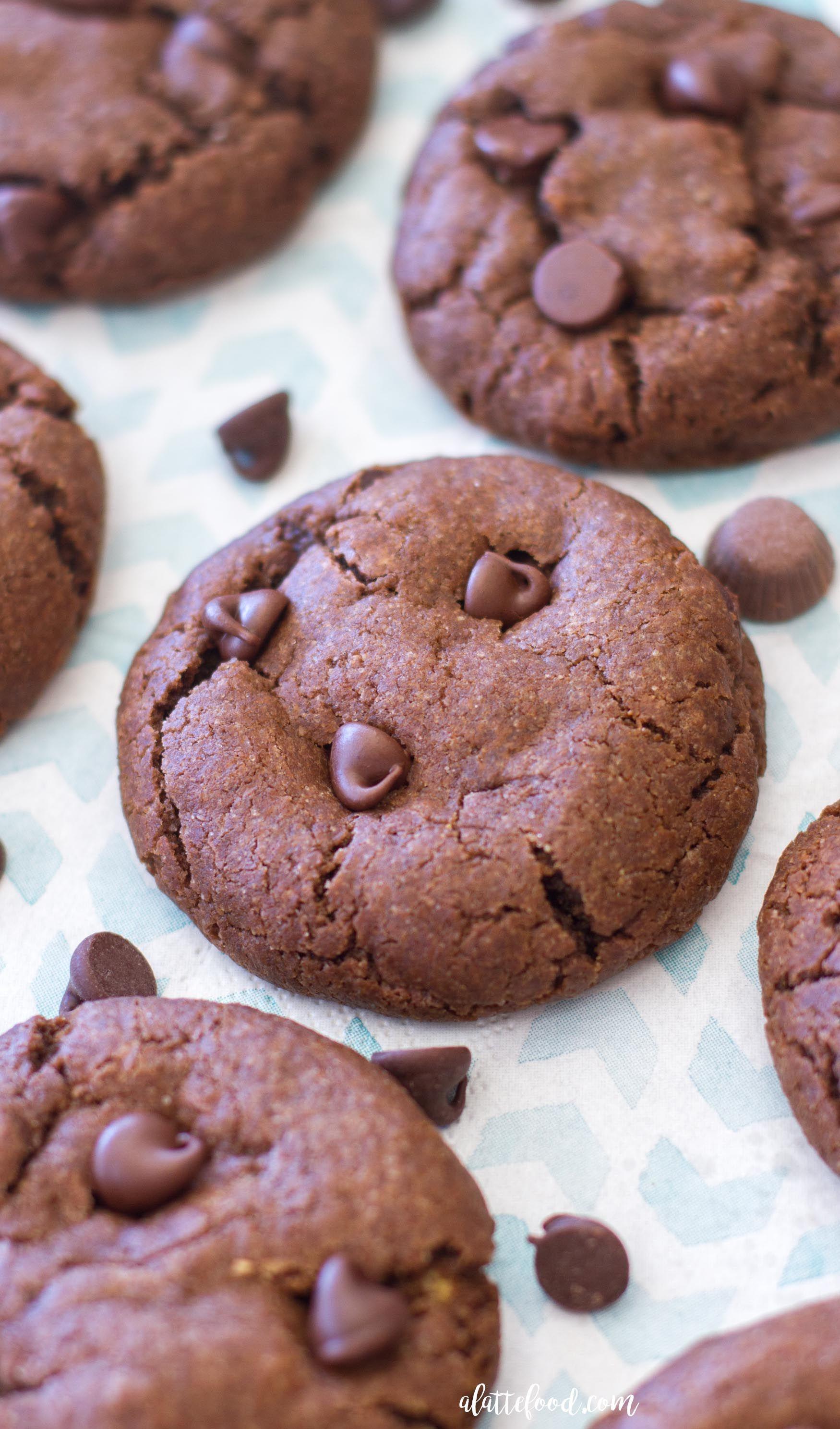 Double Chocolate Peanut Butter Caramel Cookies