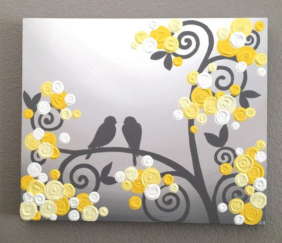 Grey And Yellow Wall Art wall art, yellow and grey textured birds and flowers, acrylic