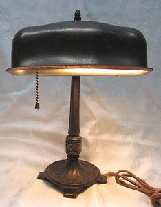 Vintage Antique Bankers Cast Iron Steel Desk Library Lamp Nice Patina Lamp Bankers Lamp Library Lamp