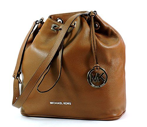 7d9d64749b9a Michael Michael Kors Jules Large Drawstring Shoulder Bag in Luggage Brown  Leather Silver Hardware >>> You can get more details at
