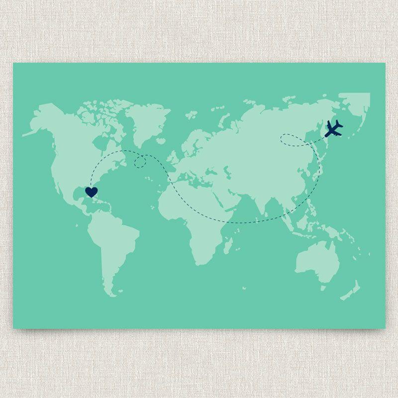 International modern destination wedding invitation with world map international modern destination wedding invitation with world map design 400 via etsy gumiabroncs Gallery