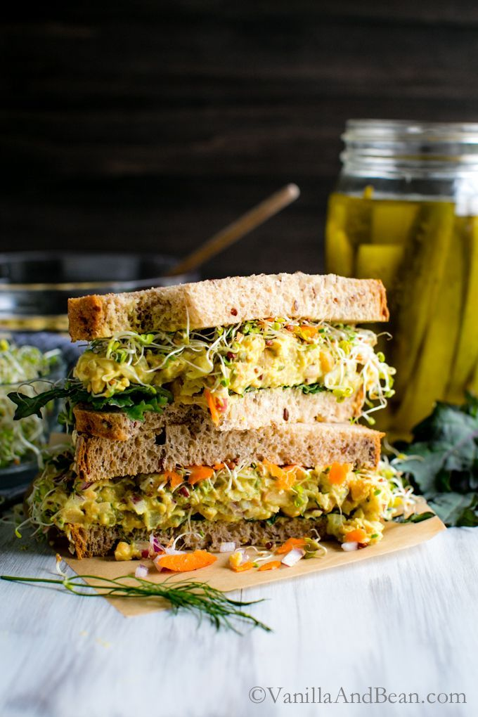 Tangy Smashed Chickpea Salad Sandwich with dill and spicy mustard makes a delicious sandwich or salad for a week-day lunch, weekend picnic or potluck! V + GF