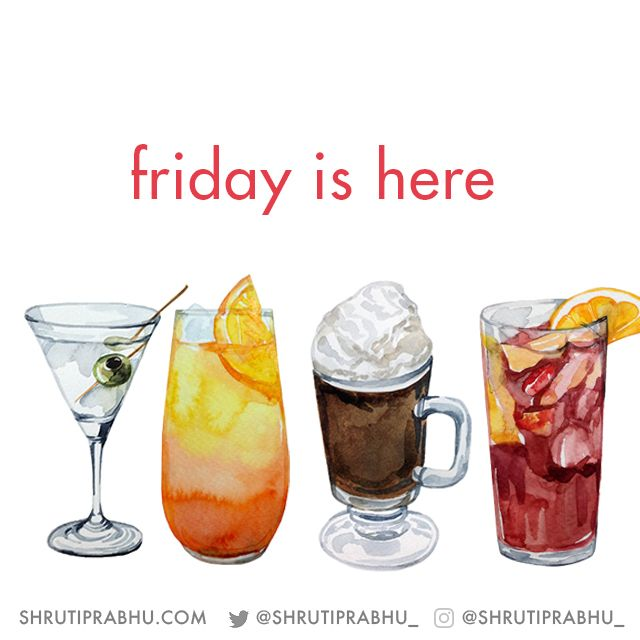 Friday Drinks Food Illustration By Shruti Prabhu Watercolour