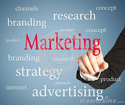 Marketing text on blue background