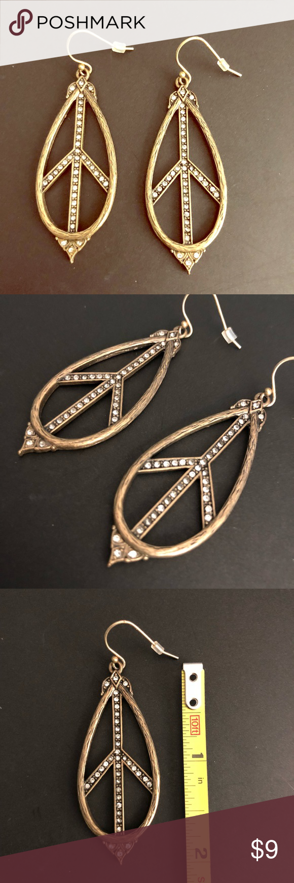Download Lucky Brand tear drop peace sign earrings | Lucky brand ...