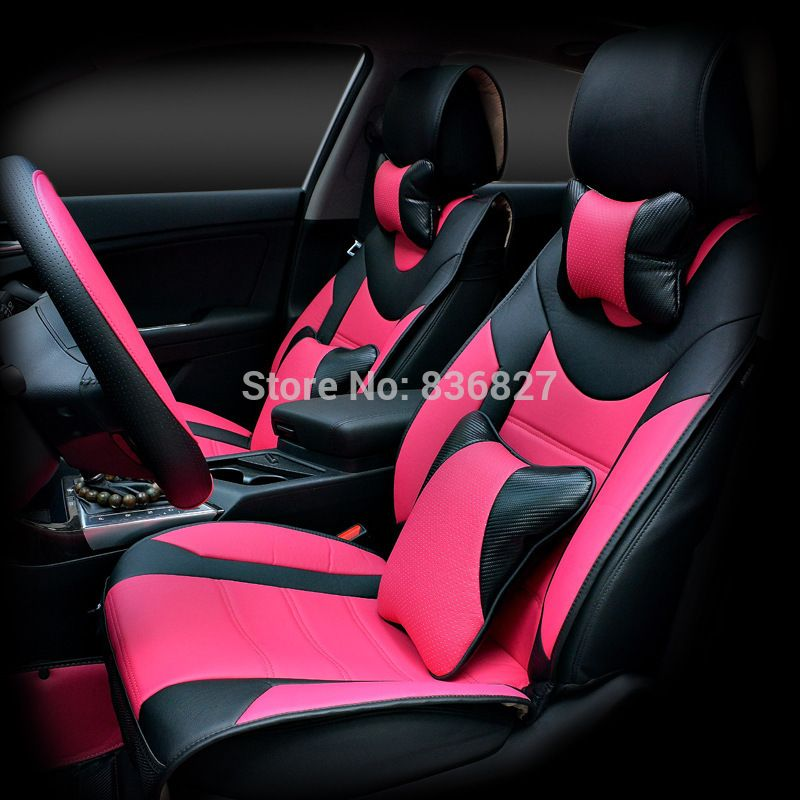 Pink Leather Seat Covers Car Cover Set
