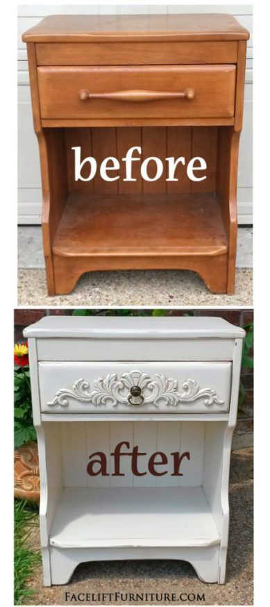 Ornate Maple Nightstand In Distressed Off White Before After Nightstands Paint Furniture And Ideas