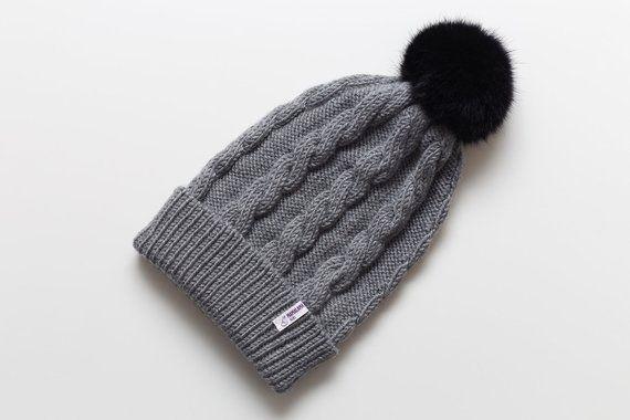8ccf6af9713 Fur pom pom hand knit organic merino wool soft grey hat for women Slouchy  winter warm pure eco frien