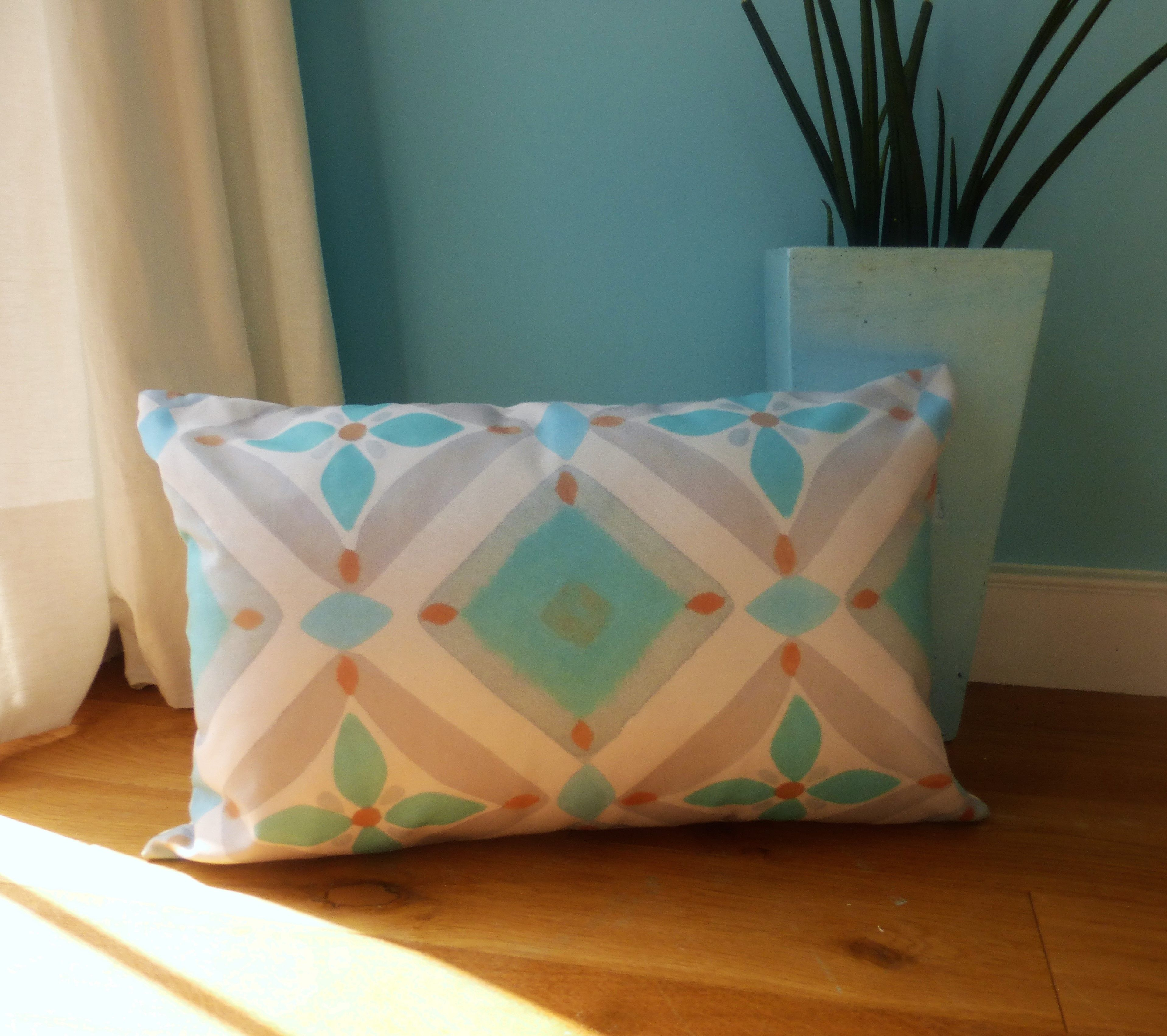 Turquoise and grey tile design cushion... instantly makes your home ...