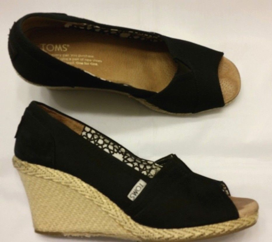 4383bdae1e4 Toms Platform Wedge Shoes Womens Sz 9 Peep Toe Espadrilles Black ...