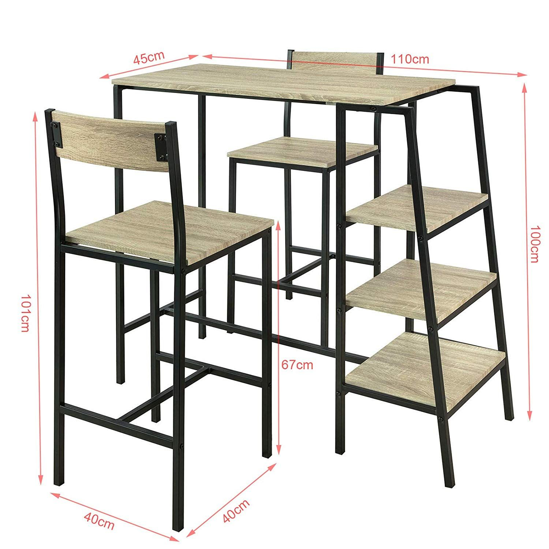 Sobuy Ogt16 N Set De 1 Table 2 Chaises Ensemble Table De Bar