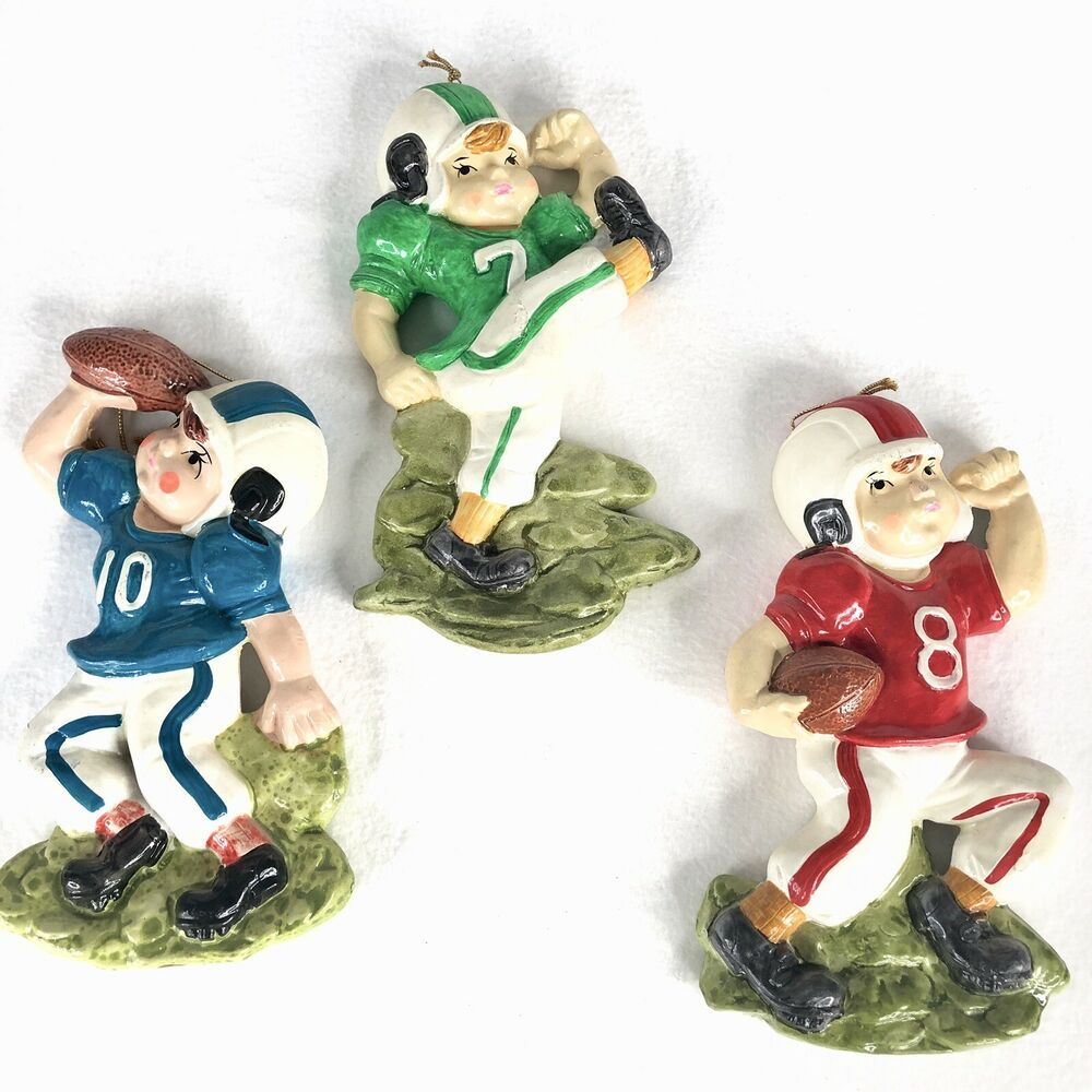 Details about 1973 set of 3 chalkware boy football players