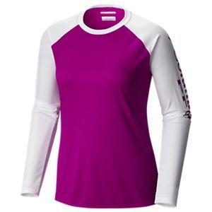Columbia Tidal Tee II Long-Sleeve T-Shirt for Ladies - Bright Plum/White - XL