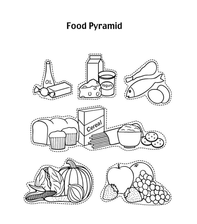 Food Pyramid With Fruit And And Other Coloring Page For
