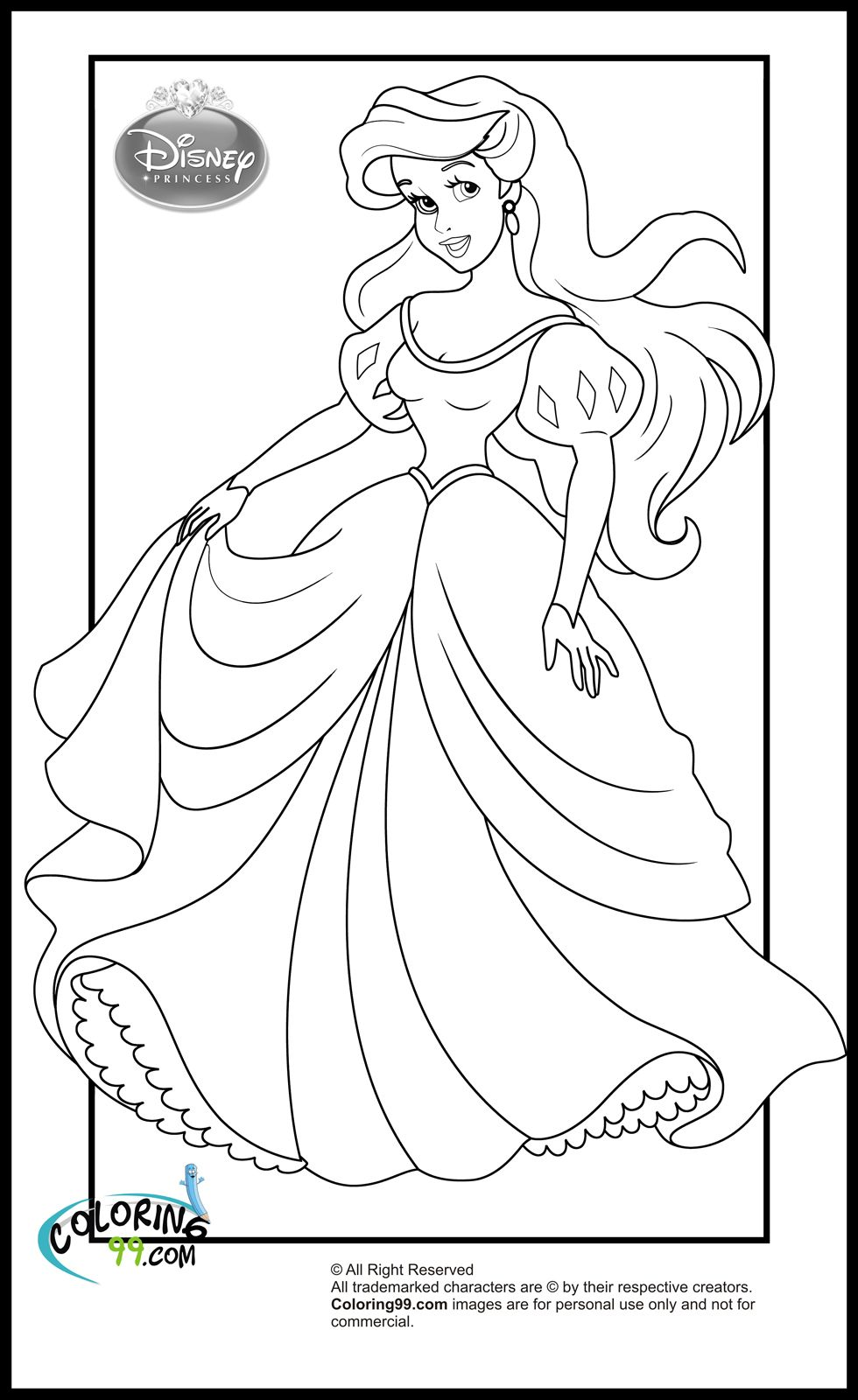 Disney princess birthday coloring pages - Disney Princess Ariel Coloring Pages Edl