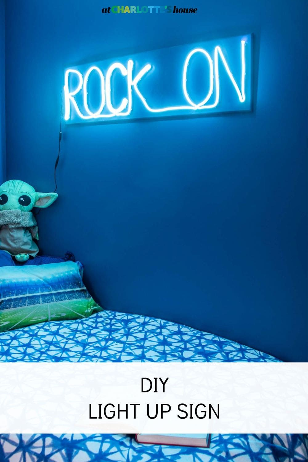 I made this custom DIY neon sign for my son's room and he loves it! A great budget solution for your own light up statement.