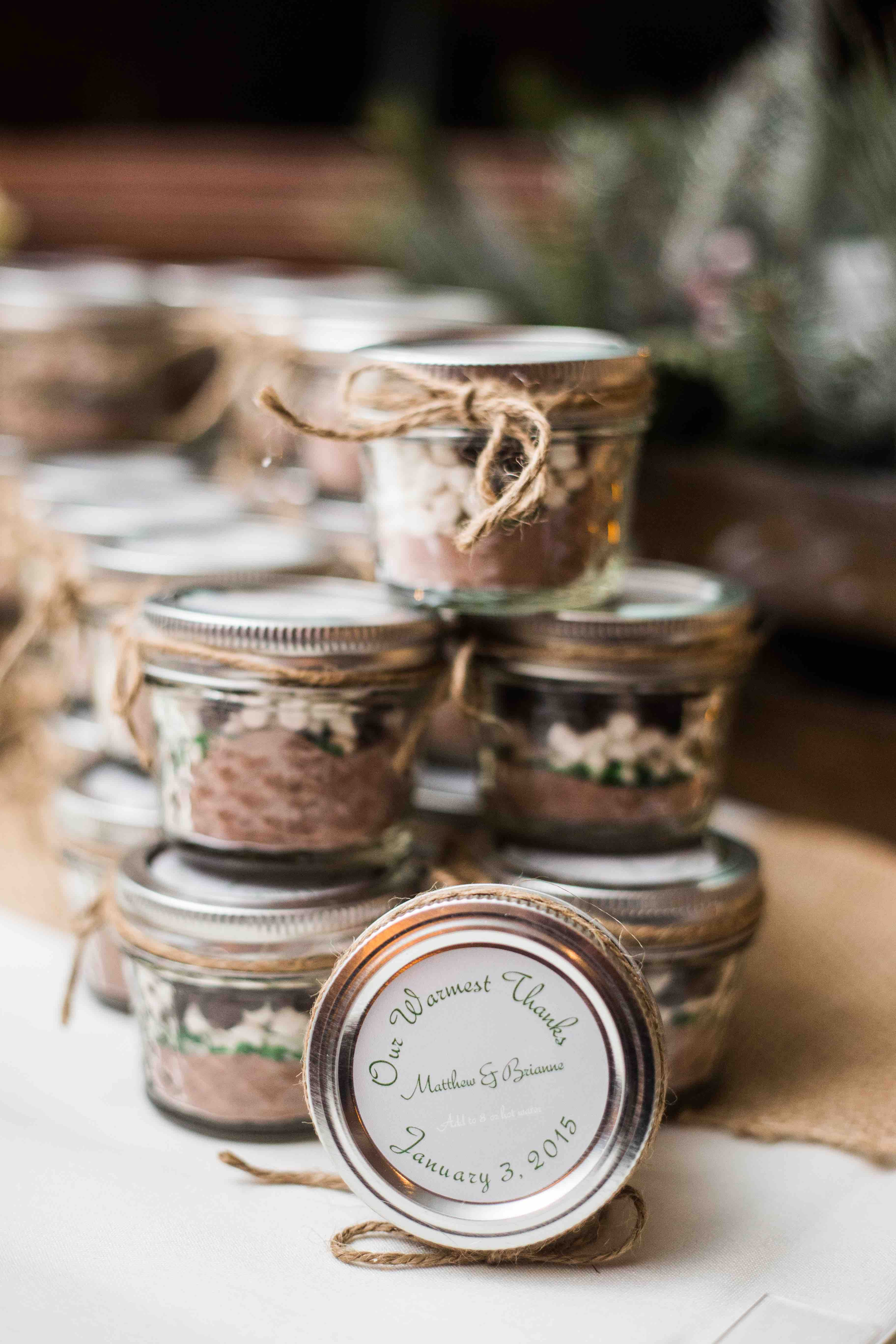 """""""Our Warmest Thanks"""" Wedding favors Hot Chocolate in mason"""