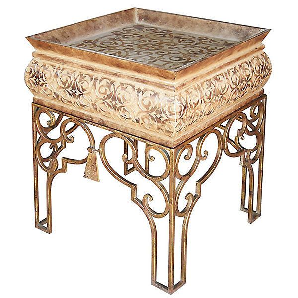 Art Deco Style Accent Table Square Burnt Orange Tones Gold Ships Free Brand New #Martelle #HollywoodRegency