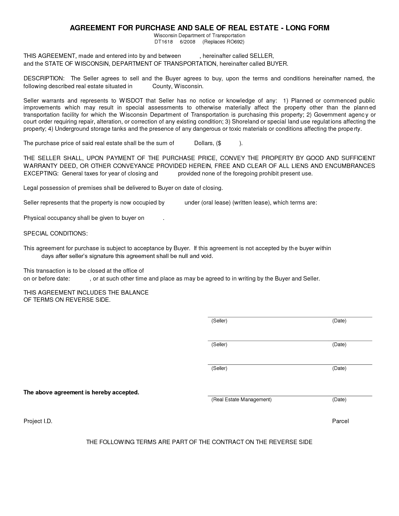 Free Blank Purchase Agreement Form Images   Agreement To Purchase Real  Estate Form Free  Blank Contract Template